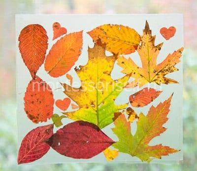 Осенняя композиция из листьев