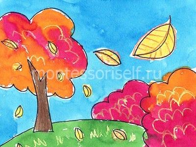 Рисунок осень акварелью и мелками