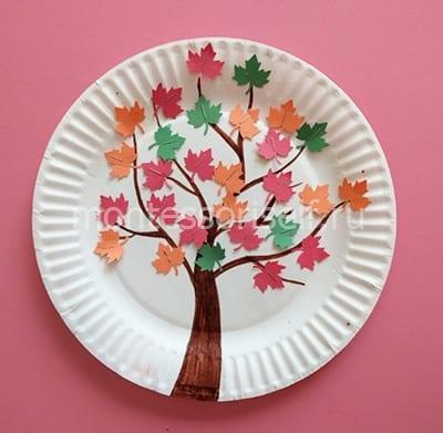Осенняя аппликация на бумажной тарелке