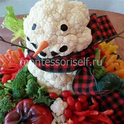 Снеговик из цветной капусты