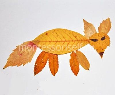 Лисичка из листиков