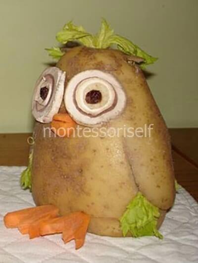Сова из картошки