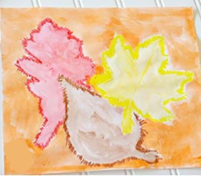 Осенняя картина мелками и красками