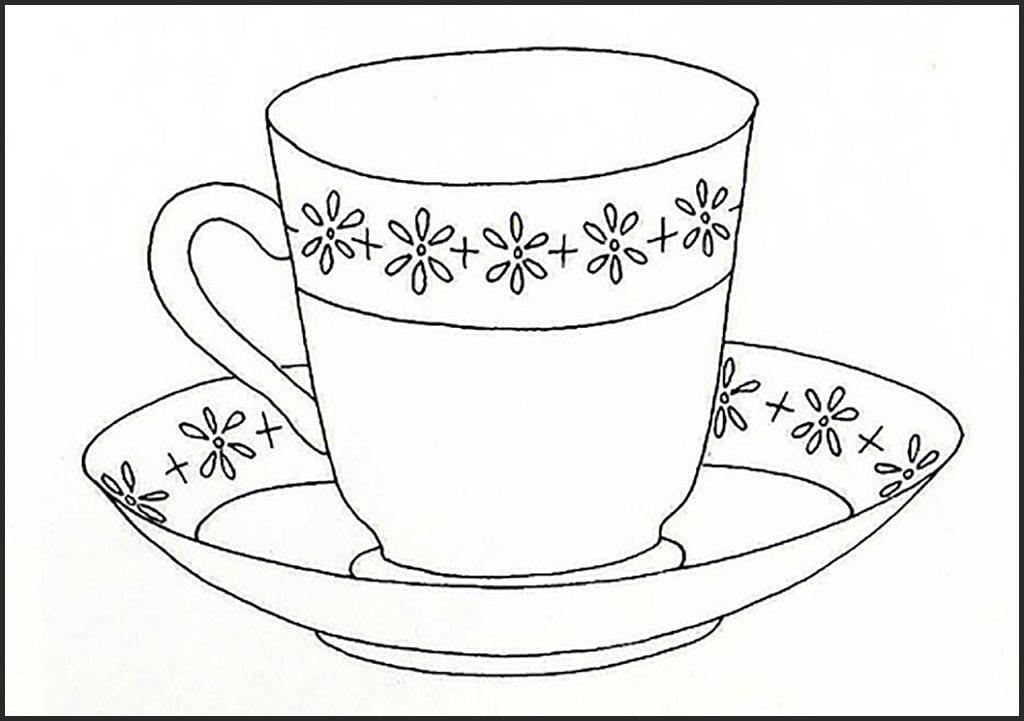 Раскраска чашечка чая
