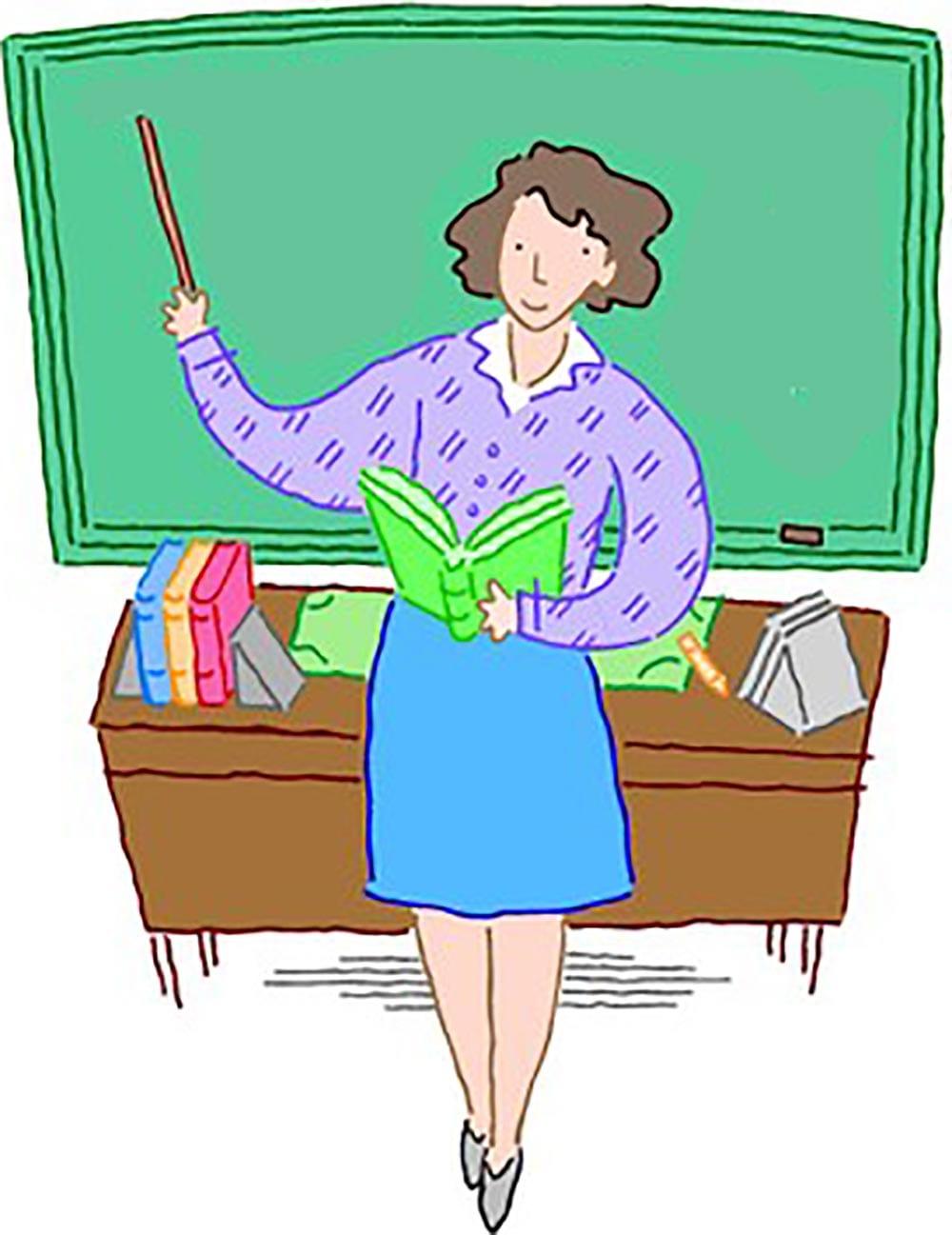 Рисунок учительница у доски