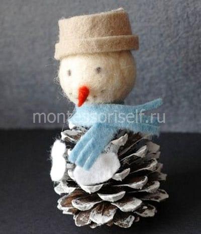 Снеговик из шишки, фетра и войлока
