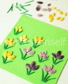 Цветочная поляна из тыквенных семечек