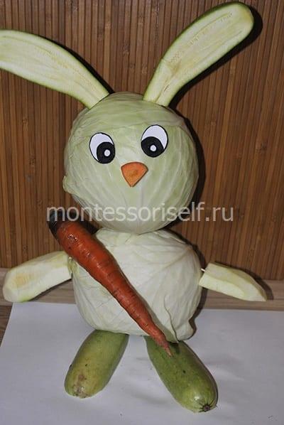 Прикрепляем носик и морковку