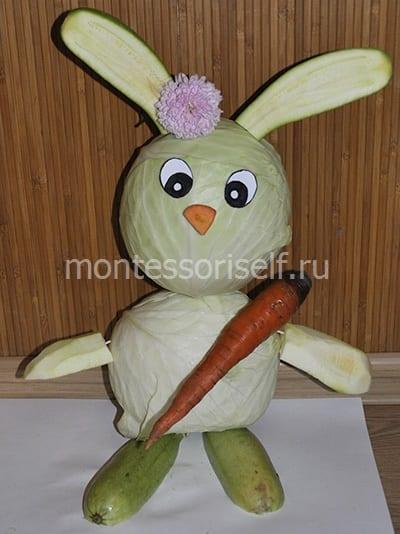 Осенняя поделка - зайчик из овощей