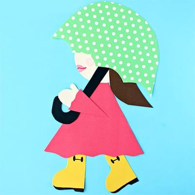 """Аппликация """"Девочка под дождем"""""""
