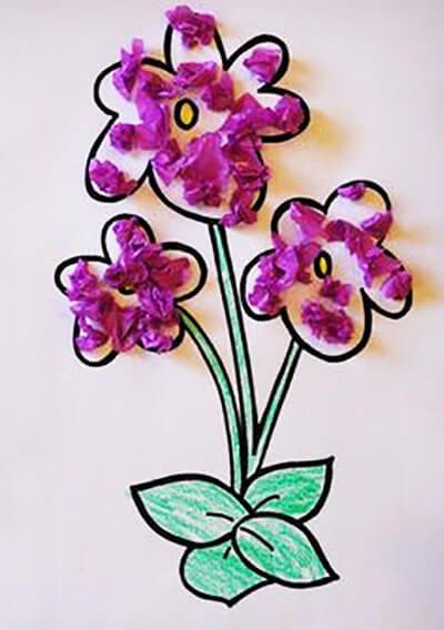 Фиалки из фиолетовой бумаги