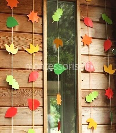 Осеннее украшение из бумажных листьев