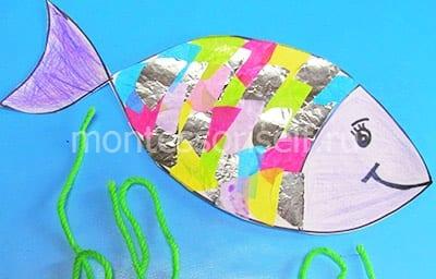 Рыбка с чешуей из бумаги и фольги