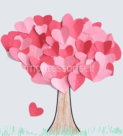 Дерево из сердечек на День Матери