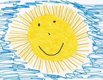 рисунок линиями солнце