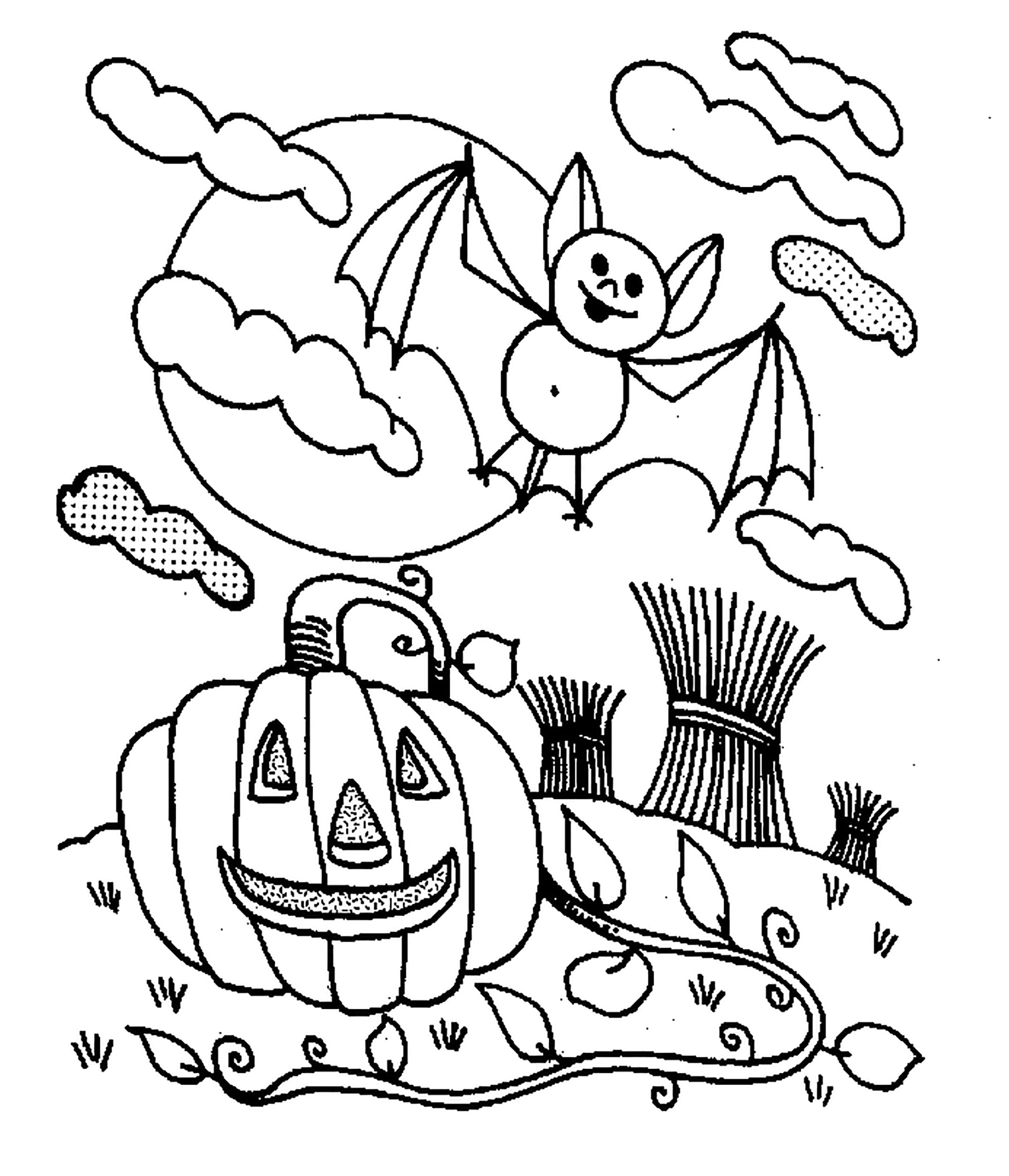Cute halloween bat coloring pages for Printable bat coloring pages