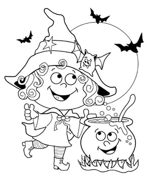 Раскраска ведьмочка