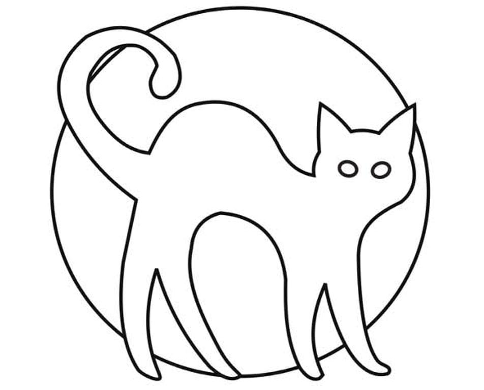 Раскраска кошка и луна