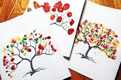 Осень пальчиковыми красками