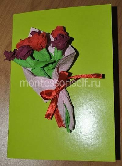 Открытка на День Матери с цветами из бумаги