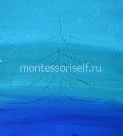 Рисуем карандашом контуры елочки