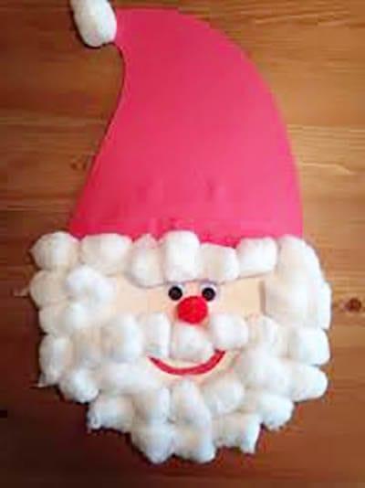 Аппликация из ваты Дед Мороз