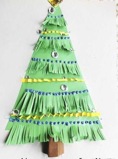 Аппликация елка из бумаги