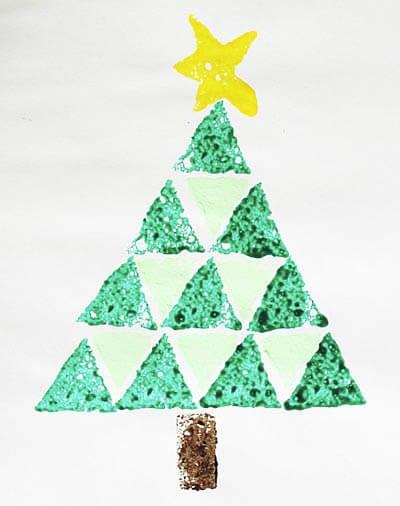 Рисунок елочка треугольными штампами