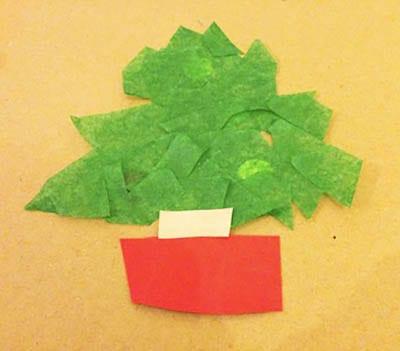 Аппликация из зеленой бумаги