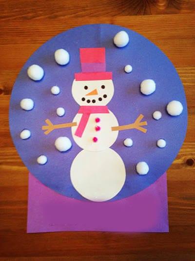 Аппликация снеговик в стеклянном шаре