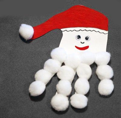 Дед Мороз из отпечатка ручки