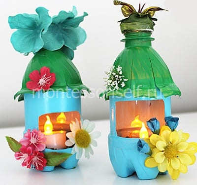 Домики-светильники из бутылок
