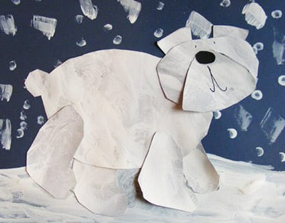 Аппликация белый медведь
