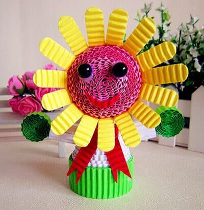 Цветок из гофрированного картона