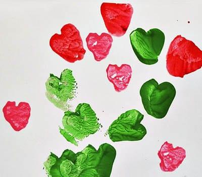 Отпечатки сердечками