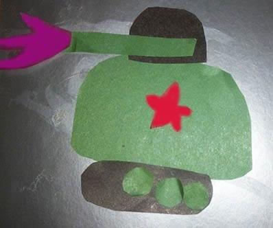 Аппликация танк