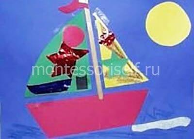 """Аппликация """"кораблик"""" со звездами из фольги"""