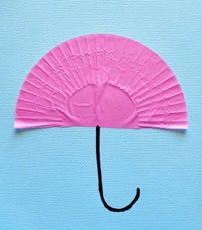 Приклеиваем зонтик и дорисовываем ручку
