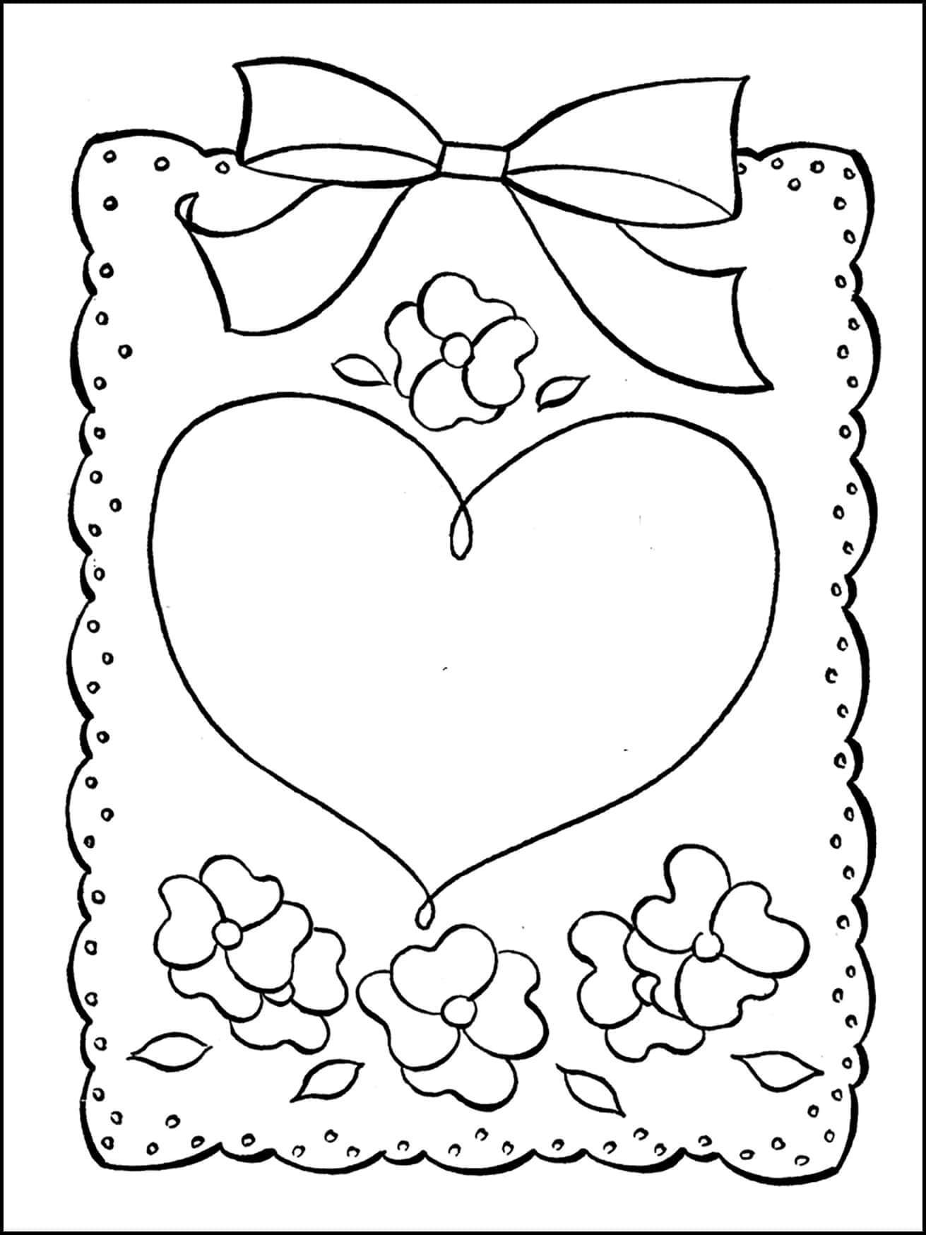Раскраска открытка с сердечком