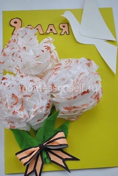 Открытка с цветами и голубем на 9 мая