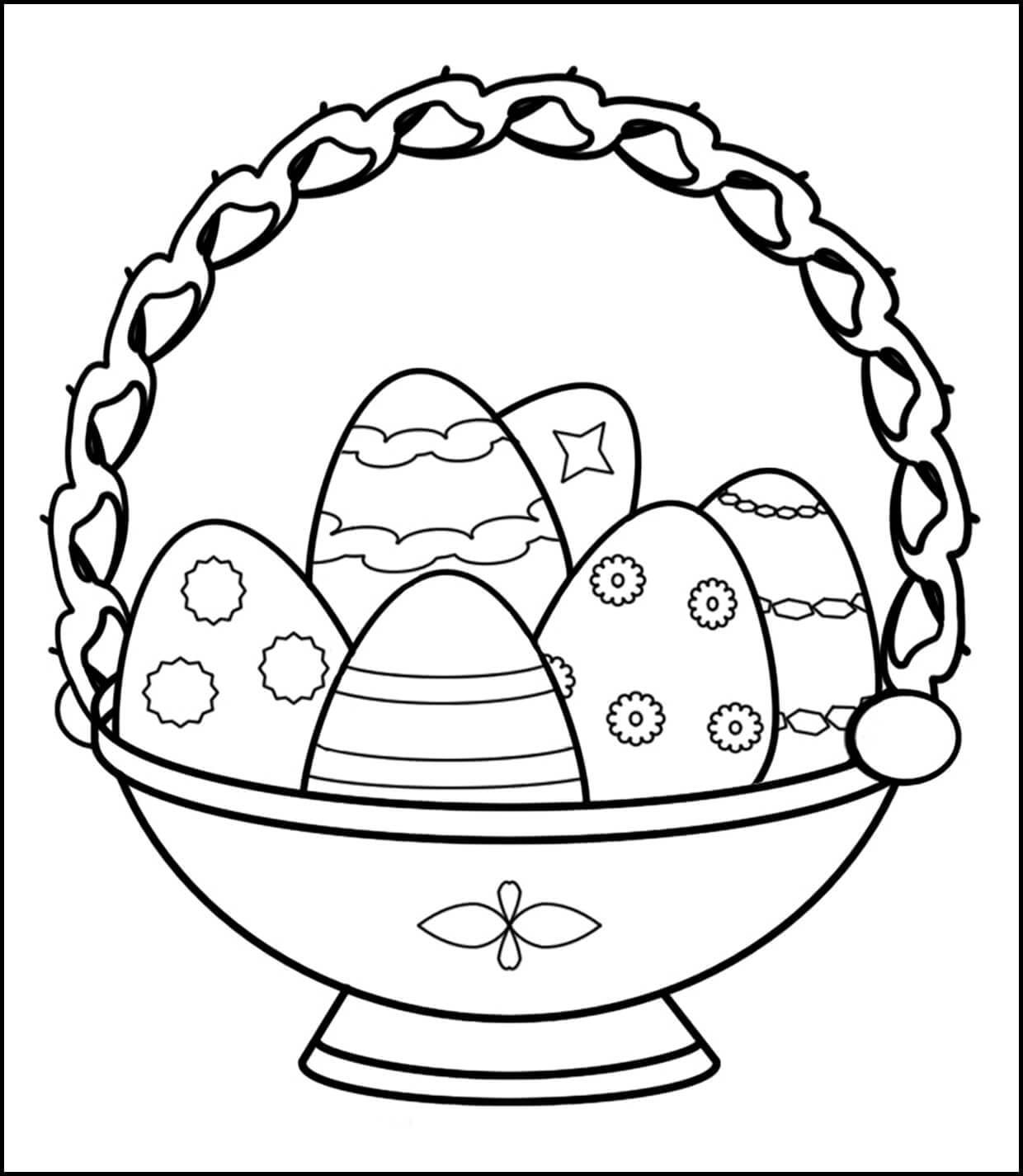Раскраска пасхальная корзинка