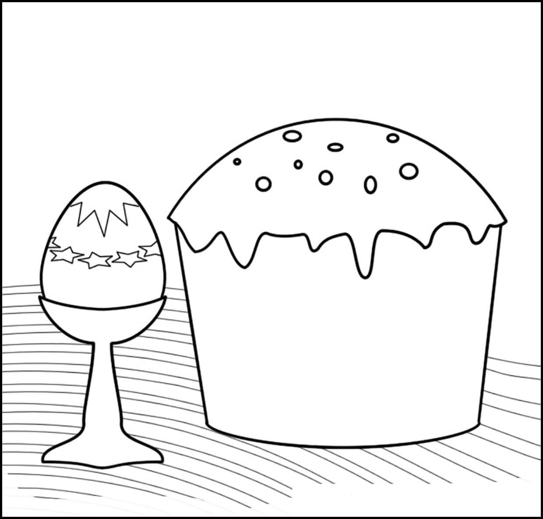 Раскраска пасхальный кулич