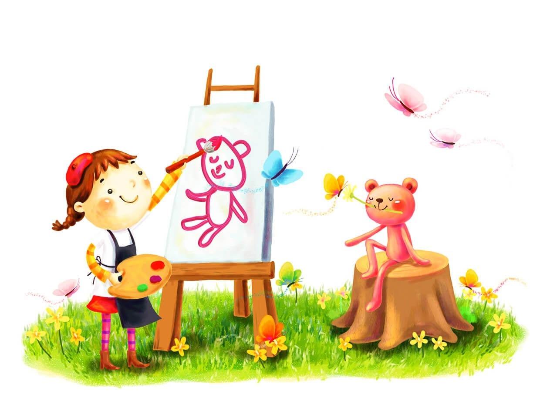 Девочка рисует картинка