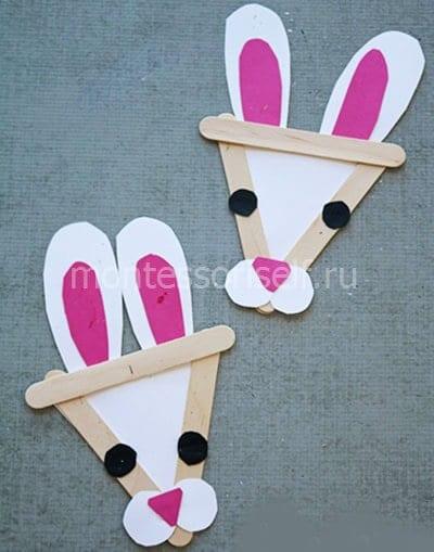 Пасхальные кролики из бумаги и палочек от мороженого
