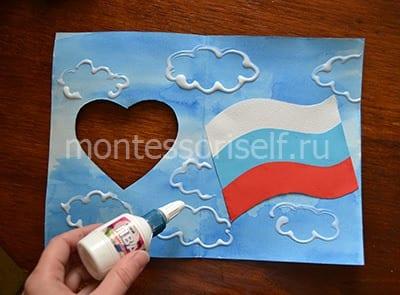 Рисуем облака клеем
