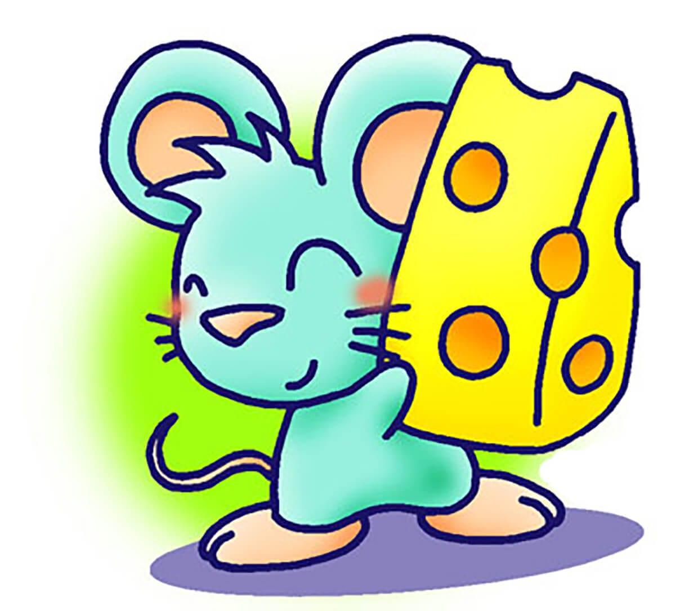 Довольная мышка с сыром картинка