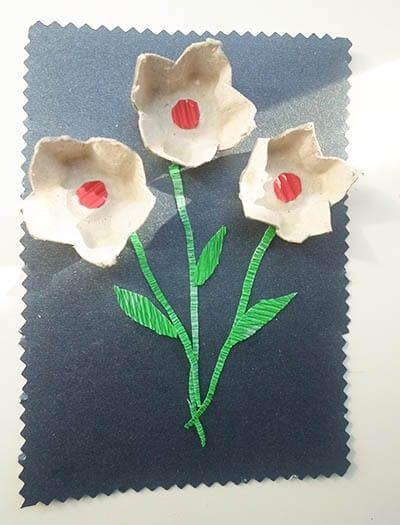 Цветы из картонных ячеек из-под яиц