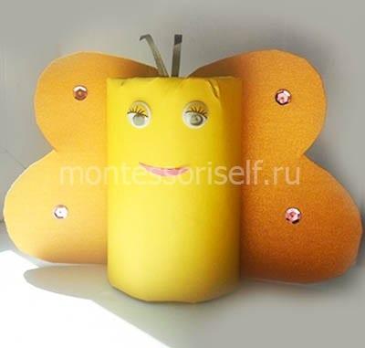 Бабочка из картонного рулона