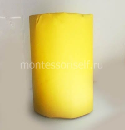 Оборачиваем рулон желтой бумагой