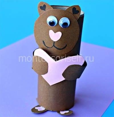 Мишка из картонного рулона